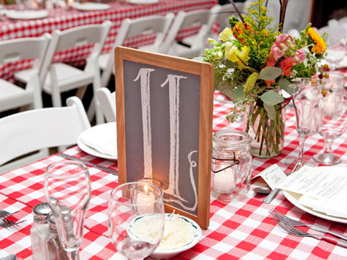 Table numbers on framed chalkboards.