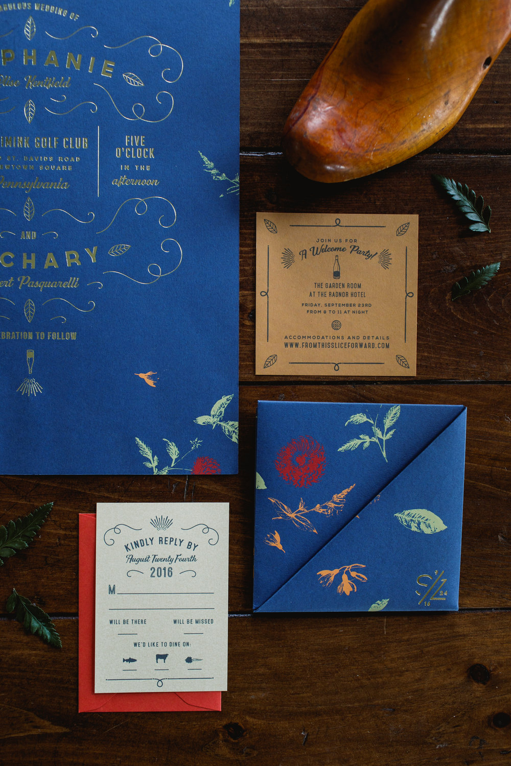 Royal blue gold foil invitation suite including reply card and Welcome Party invitation