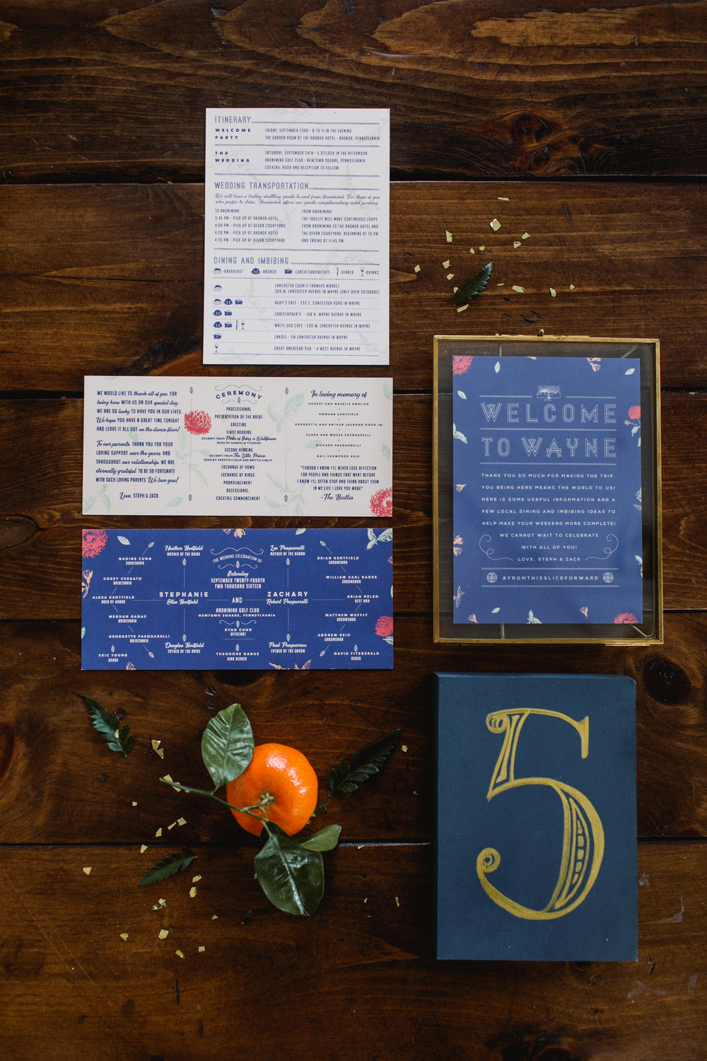 Royal blue invitation suite with gold table number and floral screen printed program