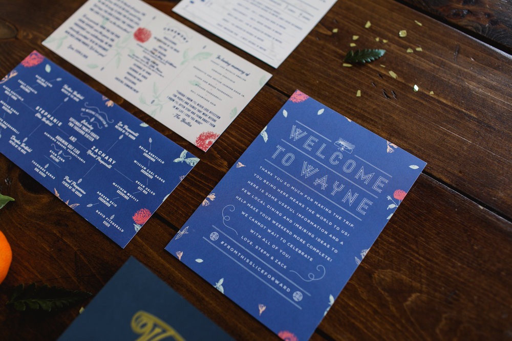 Royal blue and white screen printed wedding ceremony program and welcome materials