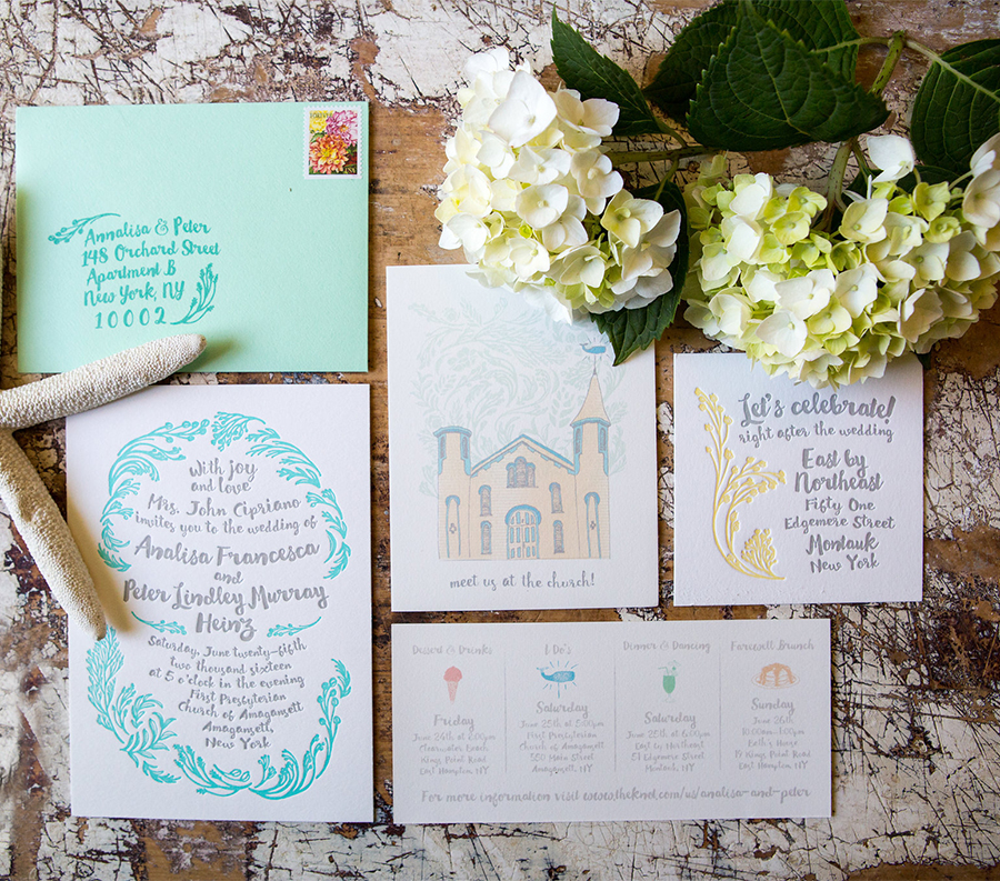 The two color letterpress invitation suite with hand drawn elements and event iconography.
