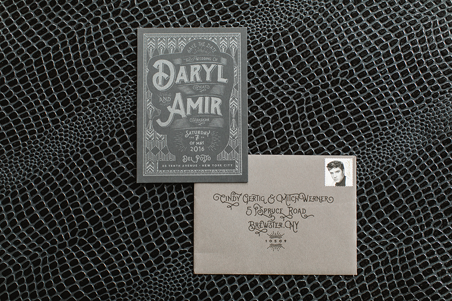 The save the date, screen printed in gun metal silver, set the tone for the entire suite!