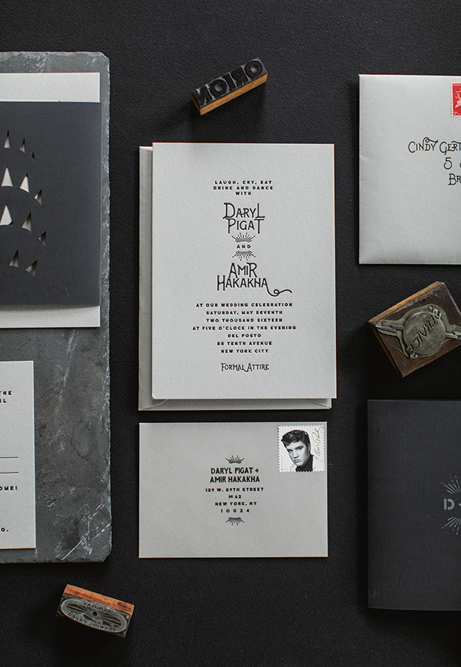 The cards in the suite were letterpressed with black ink on light gray cardstock.