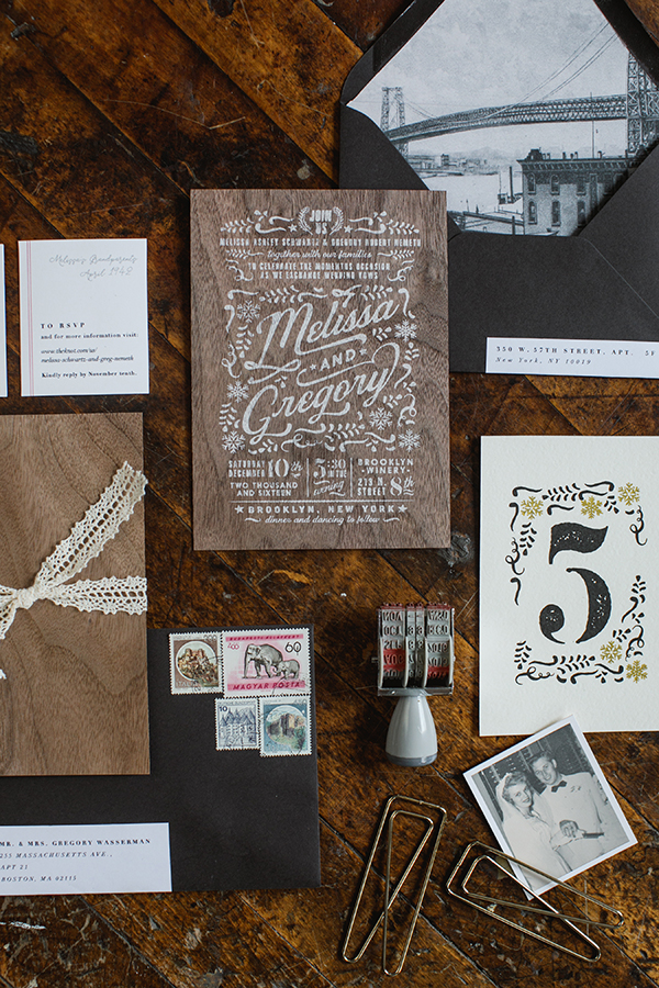 The main card was screen printed with a white wash on a walnut veneer card. We used a vintage photograph of the Brooklyn bridge as the envelope liner to celebrate the history of the neighborhood.