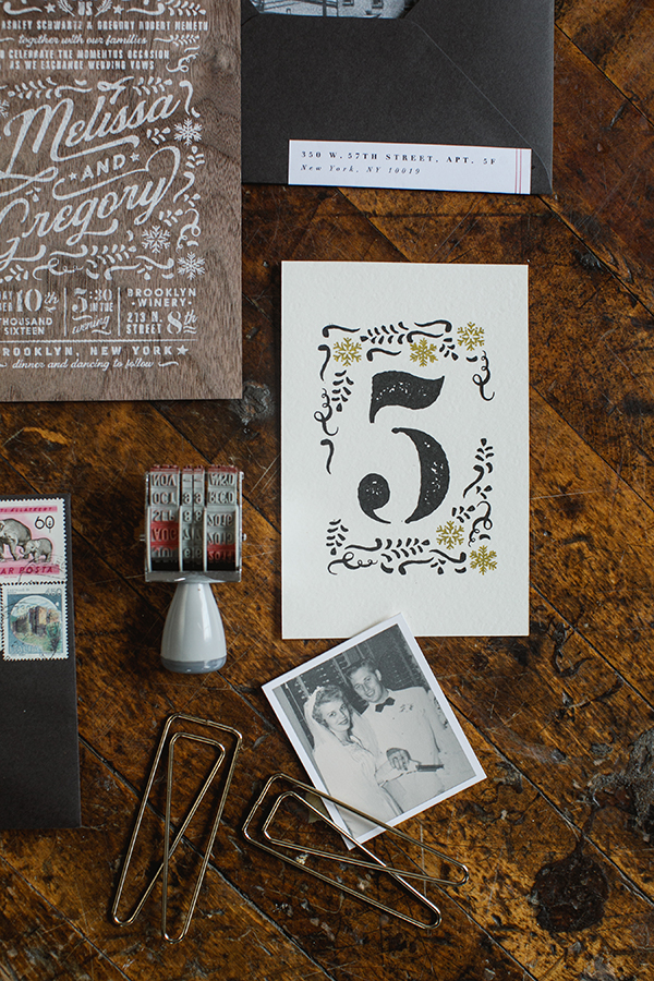 Table Numbers were adorned with leaves and snowflakes in black and gold.