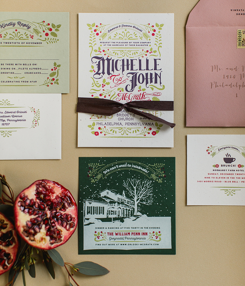 We used a folk art graphic style to adorn the main invitation and reply card with mini illustrations of holly leaves, berries and mistletoe.