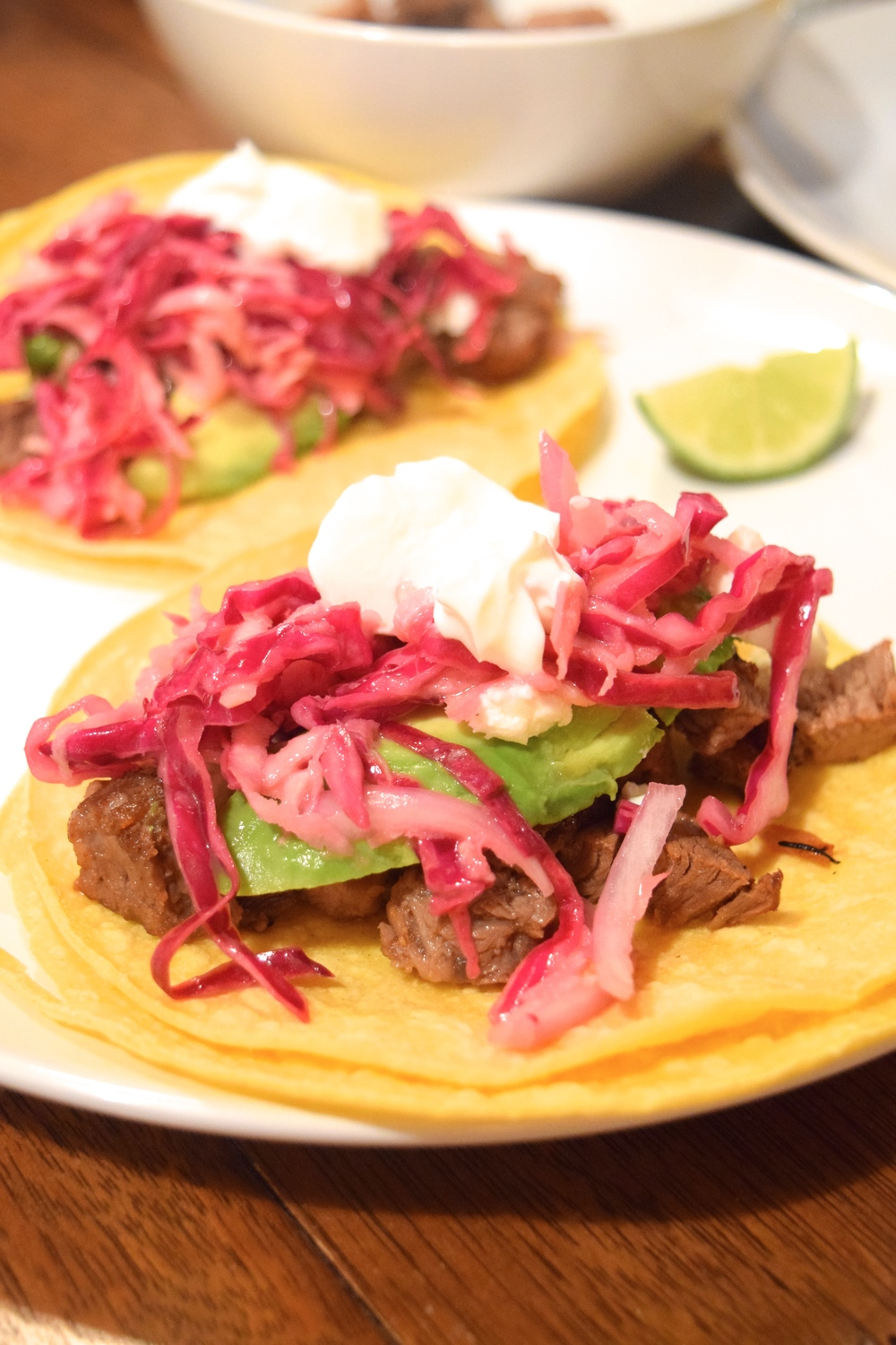 Steak tacos. Just cube the meat and toss in pan with some seasoning and onion.
