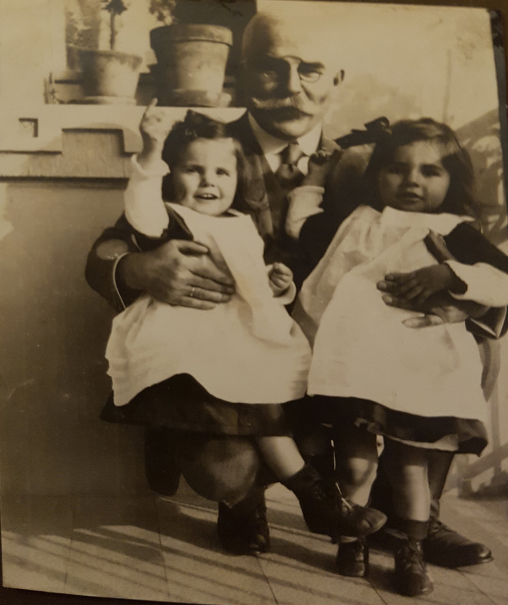 Twin sisters Ilse (left) and Ruth (right) enjoying a hug with their father Karl (my great- grandfather). I love their bold little hand gestures pointing to the sky and matching outfits!