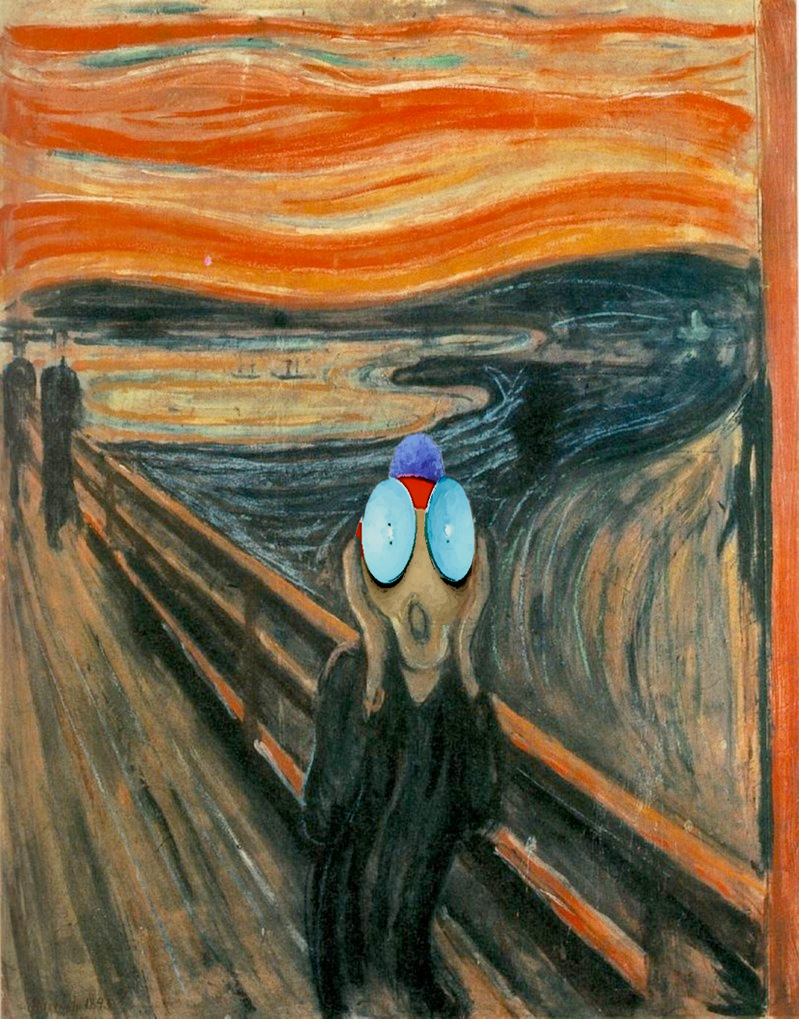 During the week they were talking about Edvard Munch, Oliver told Howard about a really strange nightmare he had recently. So it wasn't very difficult for Howard to imagine his friend in The Scream universe.