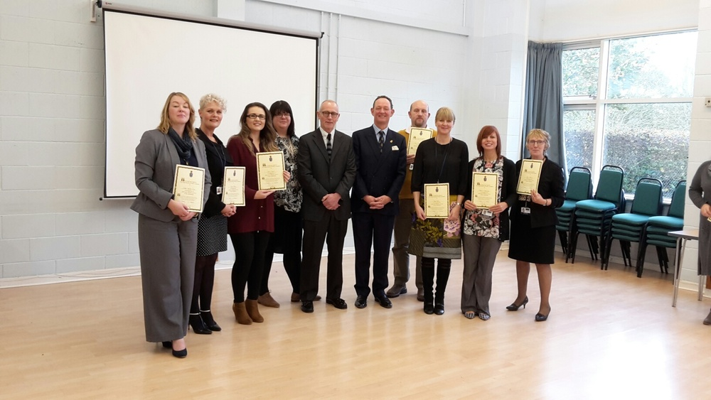 Left to Right, The Compass East Riding Criminal Justice Team - Gillian Smythe-Rice, Jacqui Pooley - Service Manager, Emily Scaife, Laurie Ferguson – East Riding Public Health, Steve Hamer – Compass CEO, Charlie Forbes Adam – High Sheriff of North Yorkshire, Karl Pearson,  Debra Easby, Rebecca Carrington, Angela Bentley