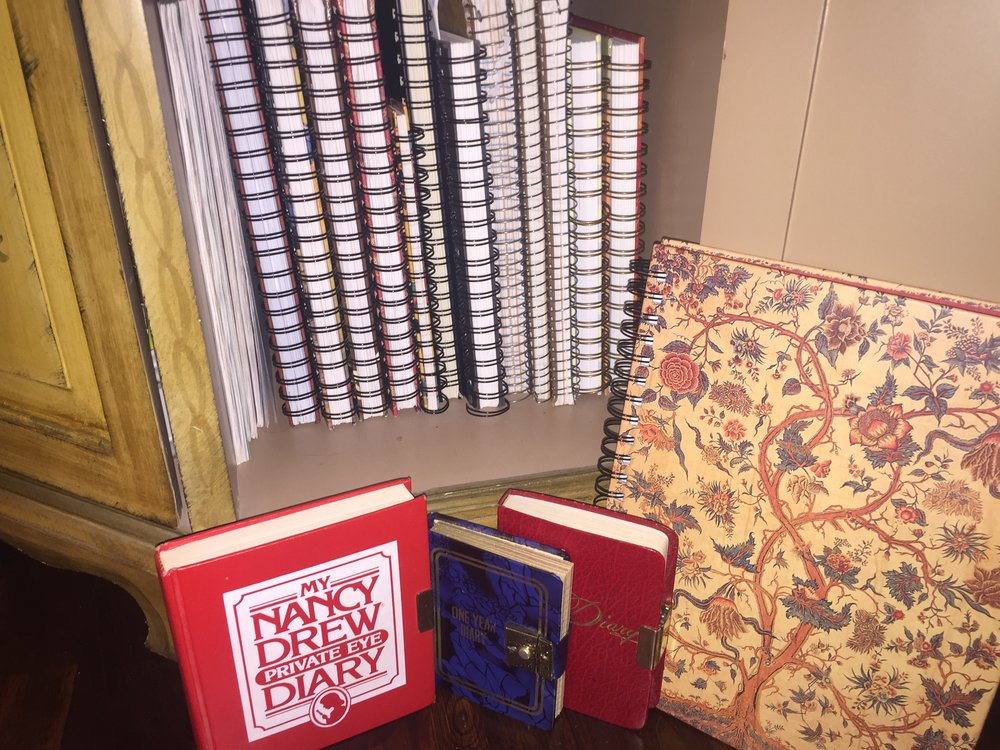 My journals from many years ... with, of course, my Nancy Drew diary from childhood.  If you've read my book  Go Forward: 28 Days to Eat, Move, and Enjoy Life God's Way , you'll remember my affection for Nancy Drew.
