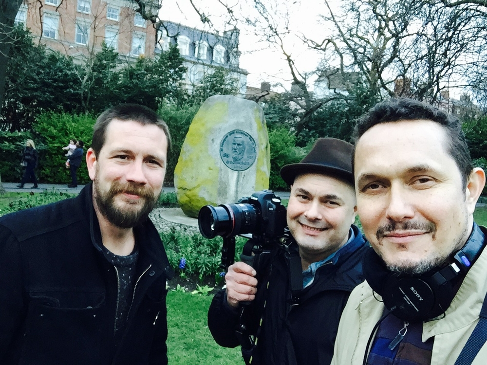 "filming at the ""potato rock"" - a lovely place on St Stephens Green with ODRs portrait."