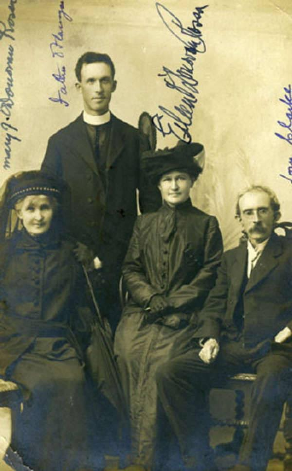 Mary Jane helped organize her husband's famous funeral in 1915.  Here she is with Fr. Michael Flanagan, her daughter Eileen and Tom Clarke who would, of course, be executed after the Easter Rising
