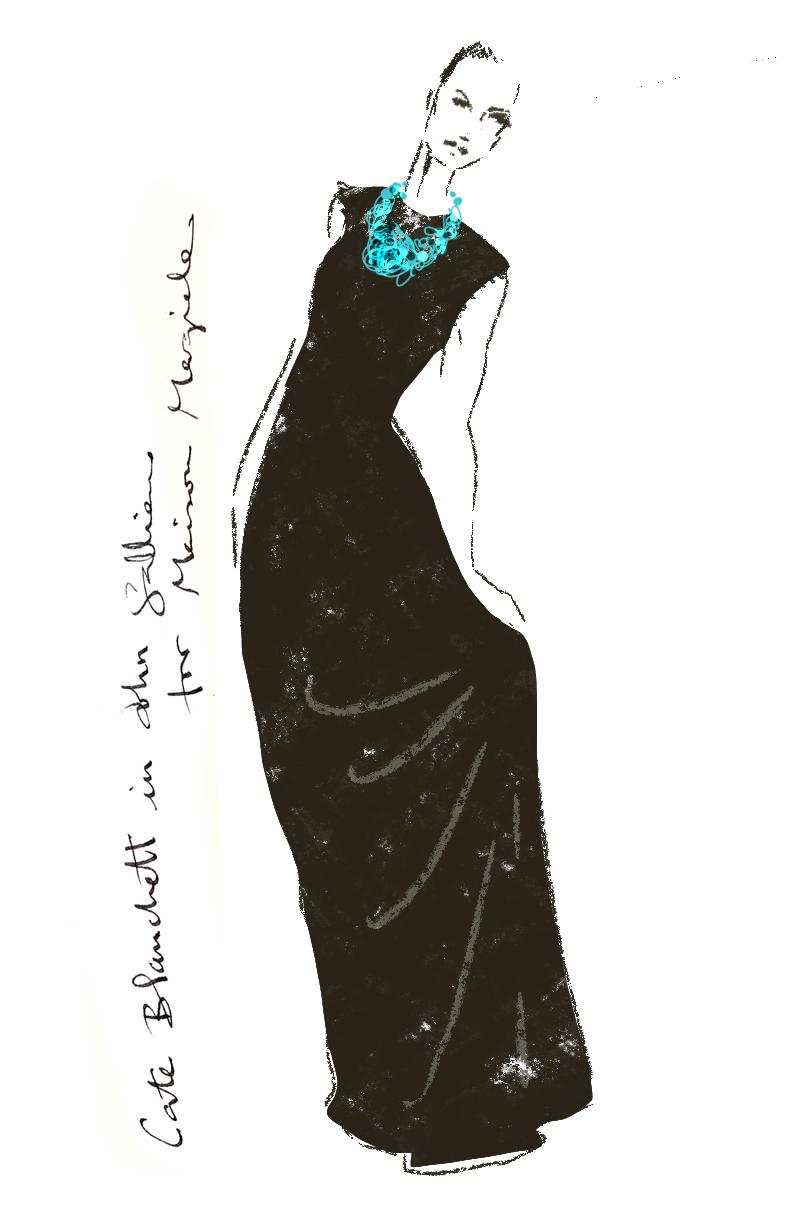 Fashionillustration-Virginia-Romo-Oscars2015-Cate-Blanchett-in-John-Galliano-for-Margiela