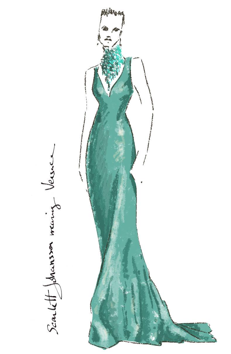 Fashionillustration-Virginia-Romo-Oscars2015-Scarlett-Johansson-in-Versace