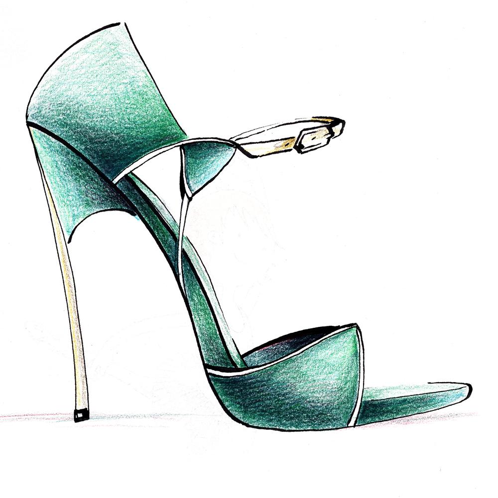 Casadei shoe fashion illustration - Schuh Modezeichnung