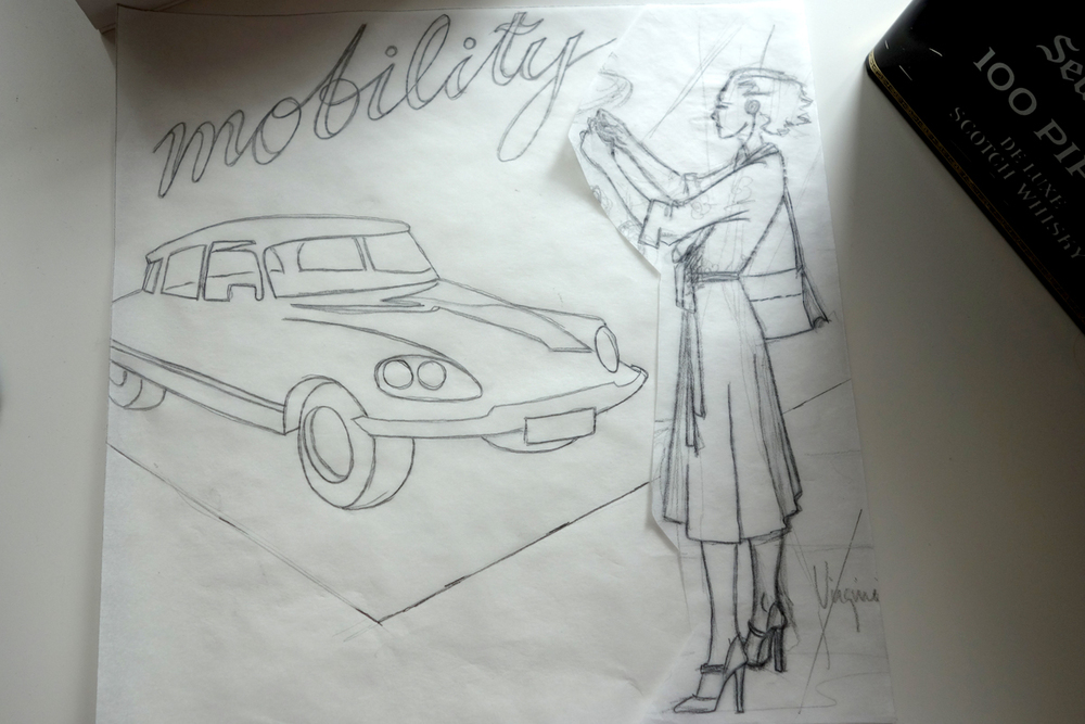 First of all I drew a very rough sketch (no images, sorry) after an idea I had while visiting the  Mercedes Museum (don't miss it if you ever come to Stuttgart!!! even if you are not interested in cars) and then I drew the different elements on sketch paper (I like to use the one in a roll) and played with them until it looked the way I wanted.