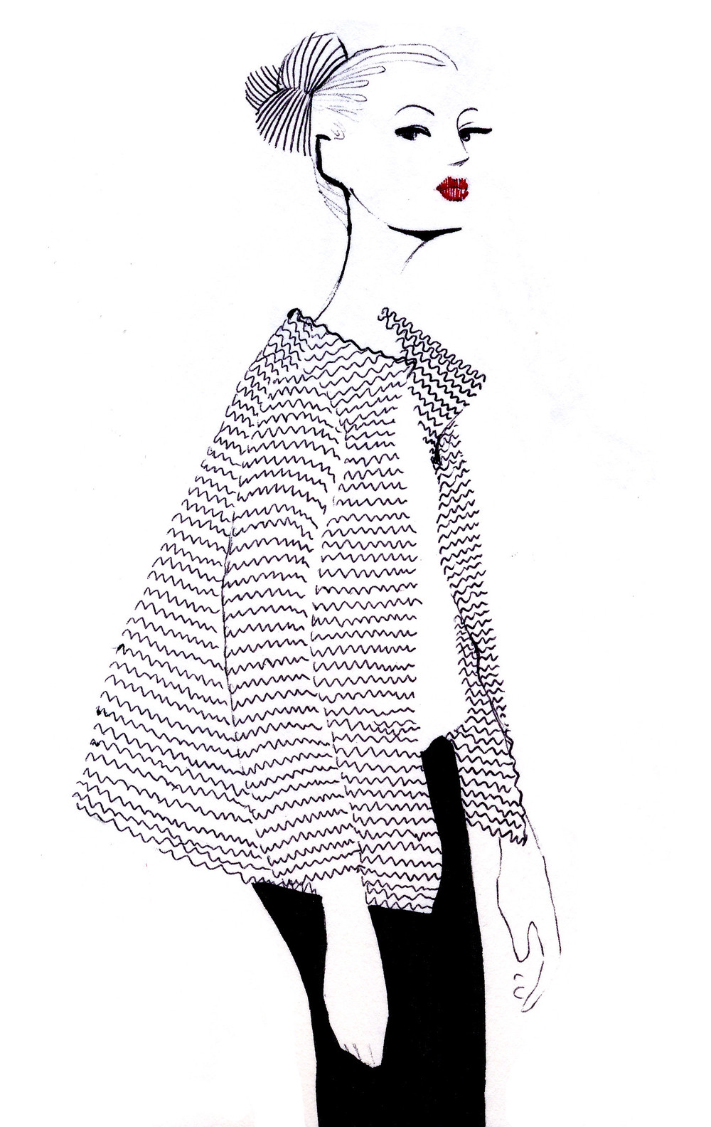 Big cardigan fashion illustration - Strickjacke Modeillustration