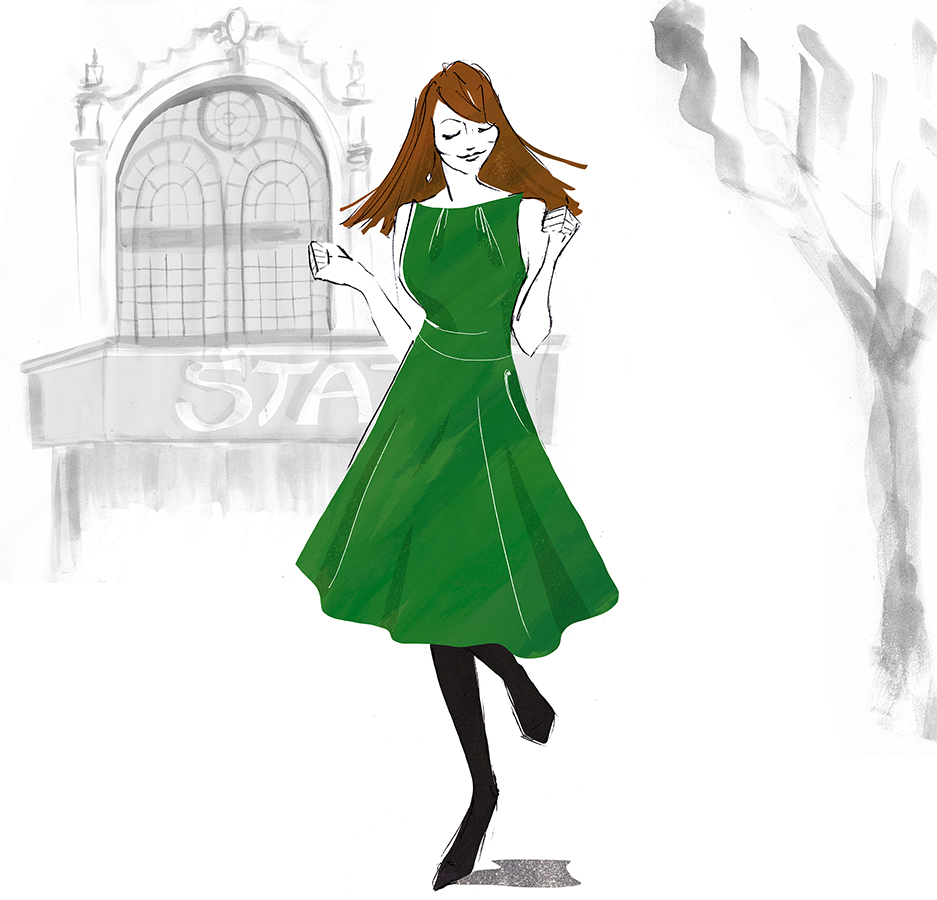 Green dress dancing girl fashion illustration