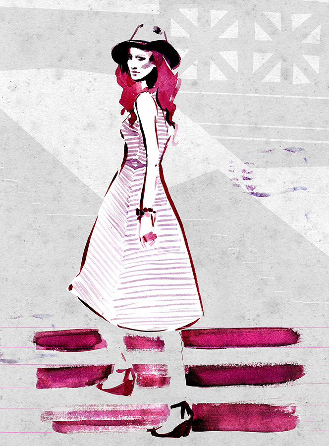 Woman with dress and hat style illustration