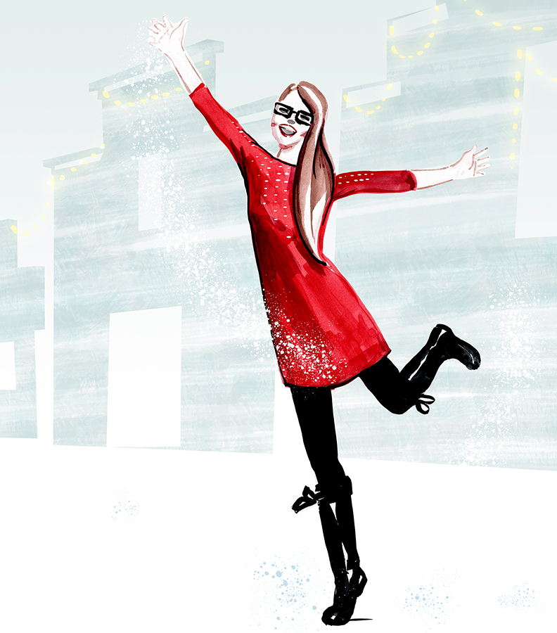 Happy winter fashion illustration - Modezeichnung