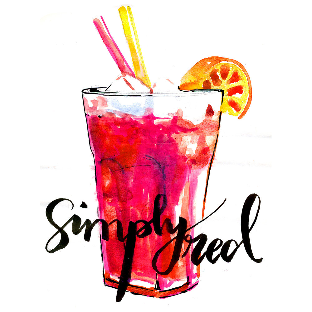 Simply Red cocktail style illustration - Watercolour