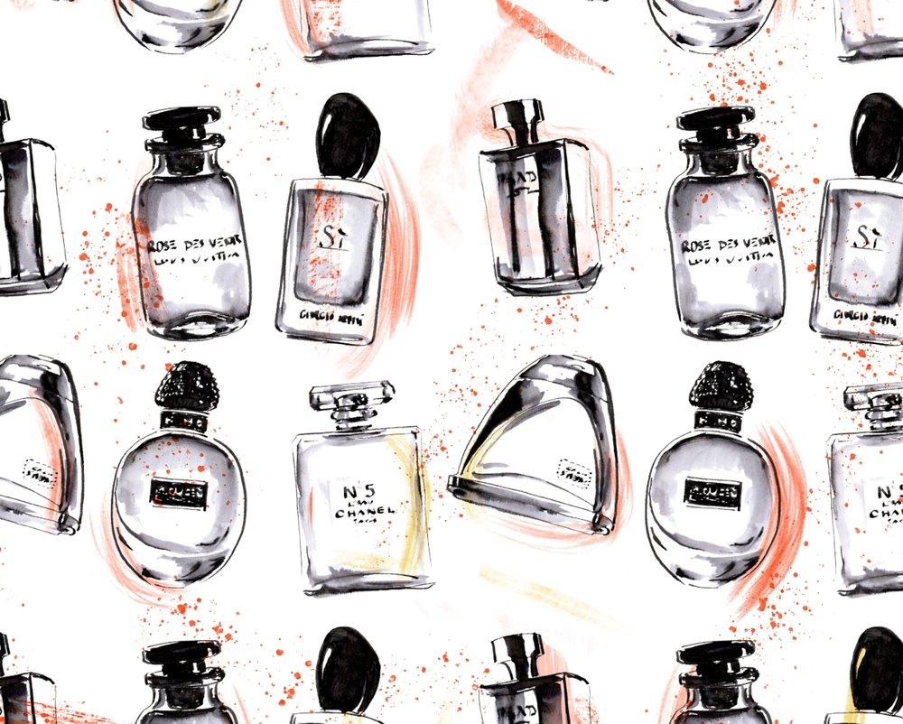 Iconic fashion parfumes pattern - Parfumflakons Muster