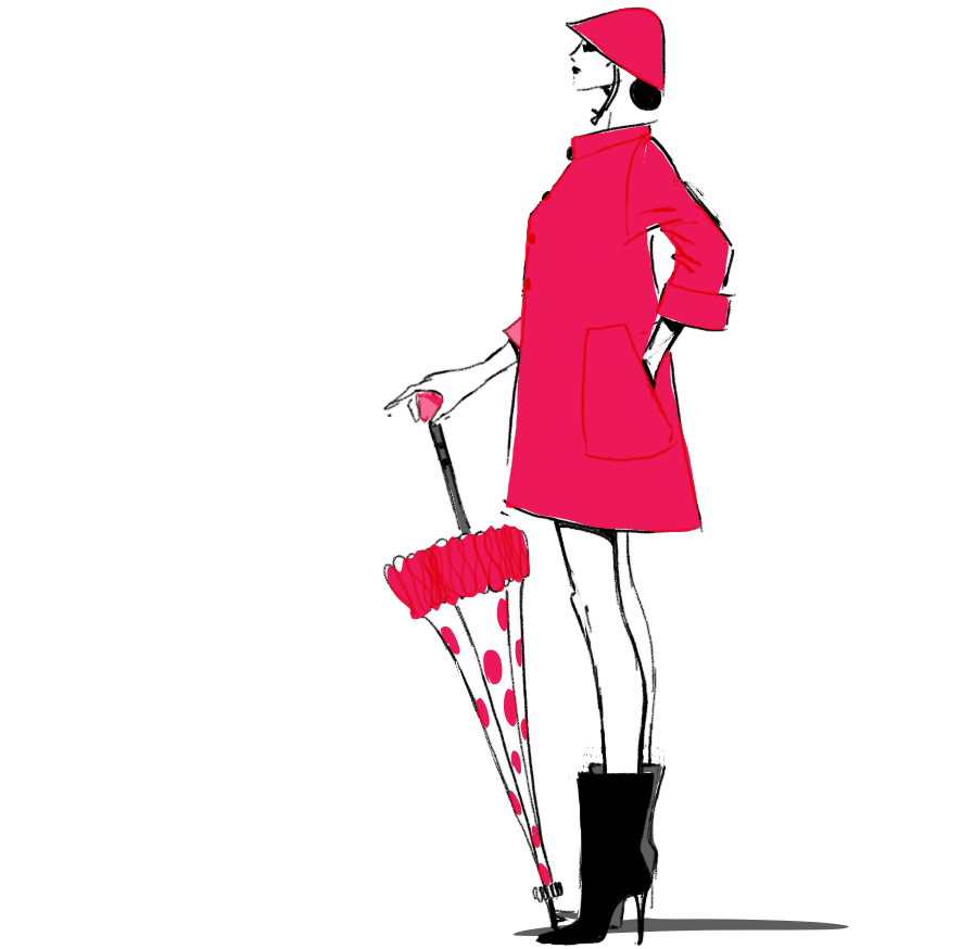Red rain coat fashion illustration - Roter Regenmantel Modeillustration