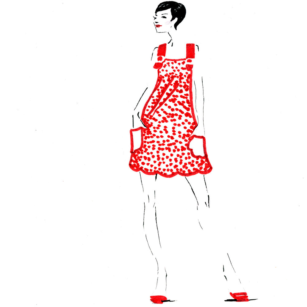 Red dots summer dress fashion illustration