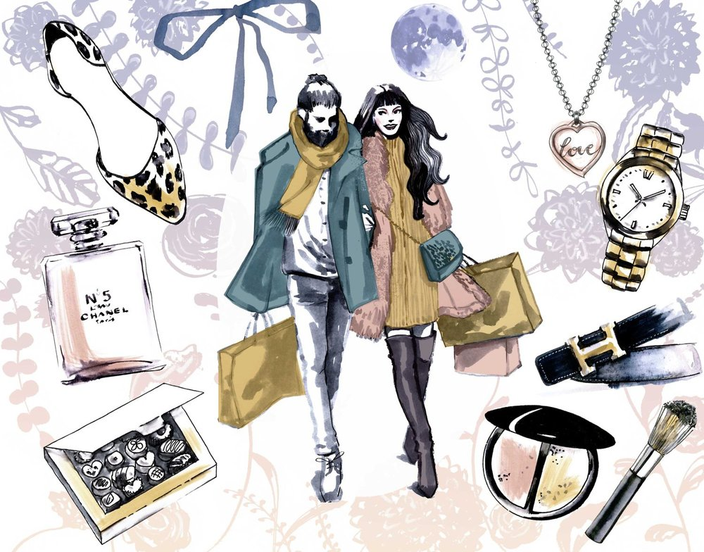 Valentine's day shopping couple style illustration