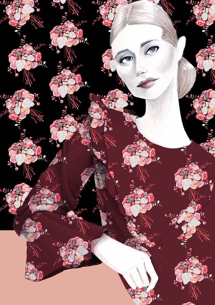 Roses trendy fashion illustration
