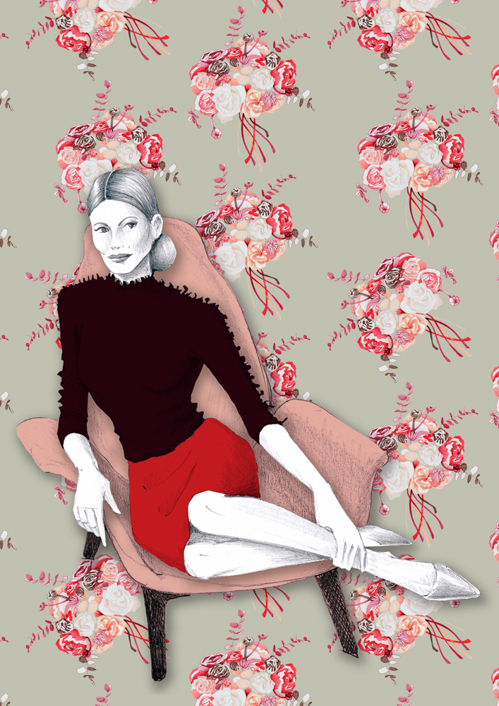 Roses trendy fashion illustration - design chair