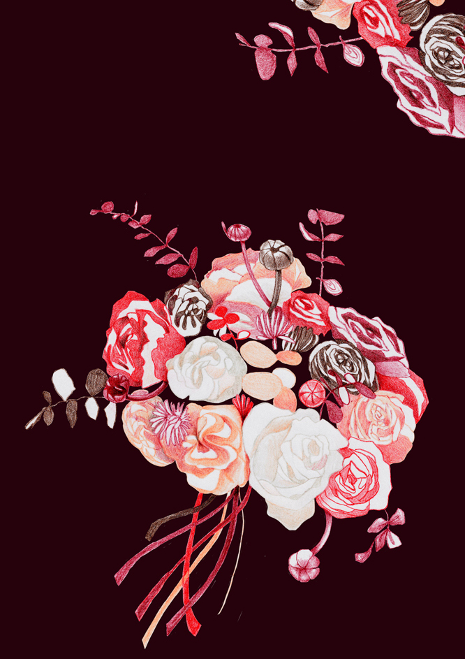 Roses trendy style illustration - pattern - Rosenmuster