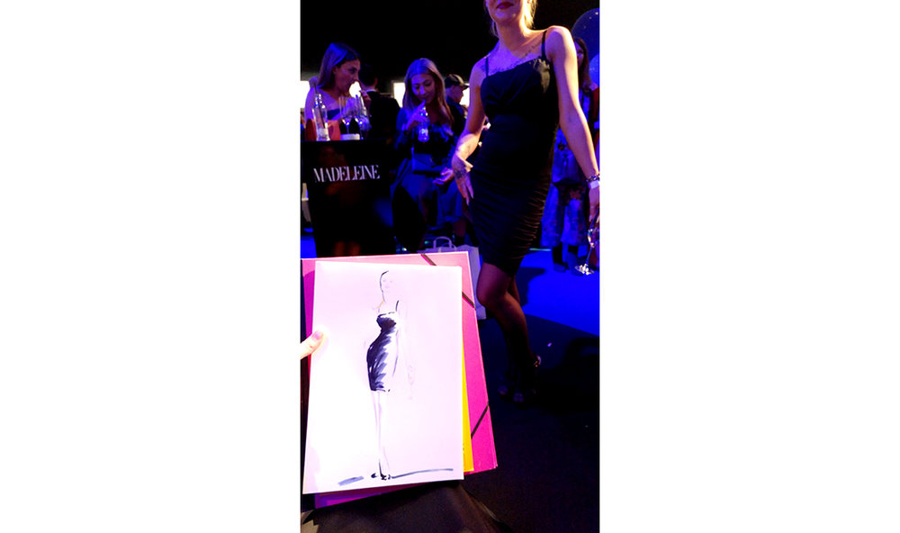 Live sketch event Virginia Romo Fashion Illustration at Tribute to Bambi Award 2017