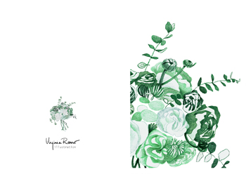 Virginia Romo Illustration - Greeting Card - Green Roses 2