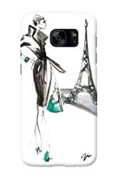 Virginia Romo-Phone-Case GalaxyS7-Parisian Lady green bag