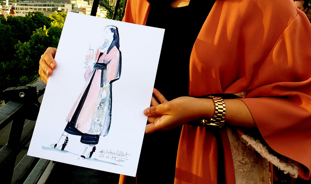 Live sketch event Virginia Romo Fashion Illustration for Lillet