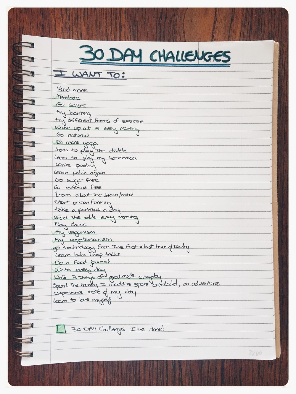 The 30 Day Challenges I am trying out