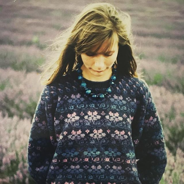 Just dug our this photo - an old hand frame knitted design from the early 90s, with Norfolk lavender behind. #woodwardanddavey #knitwear #norfolklavender