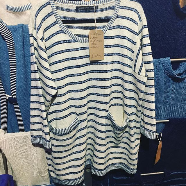 A new design in pure unbleached cotton with indigo dyed stripes today @blackthorpebarn