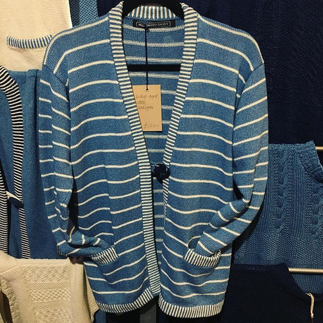 Indigo dyed cotton cardigan with fine striped detail on bands and pockets. Last day at #blackthorpebarn tomorrow