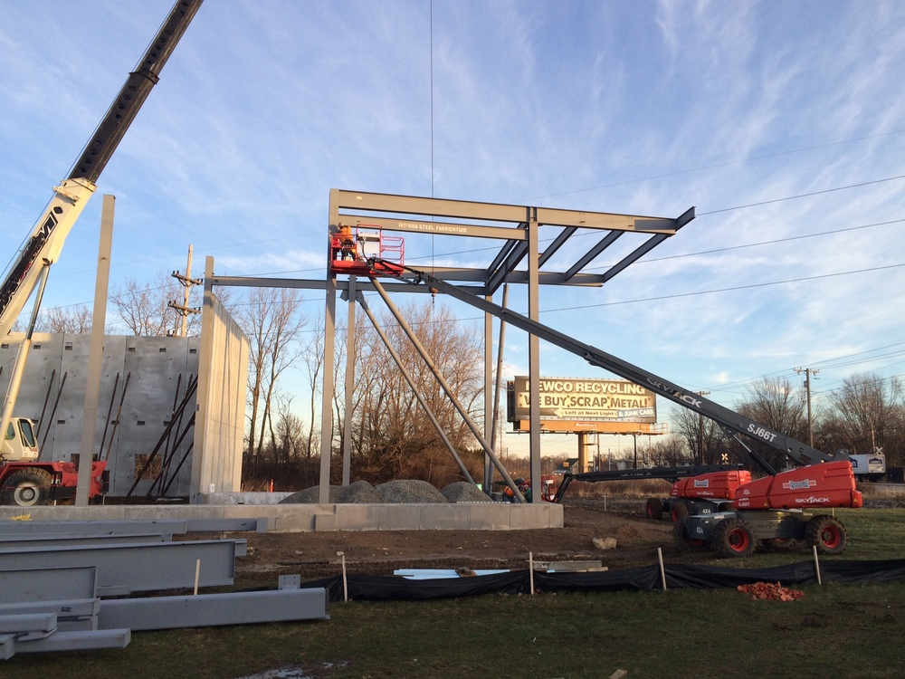 East Side of Area A Steel Being Set.JPG