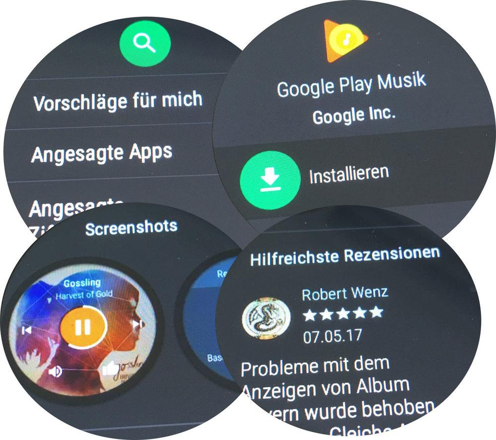 Der Play Store für Android Wear bietet die von den Smartphones gewohnte Funktionalität