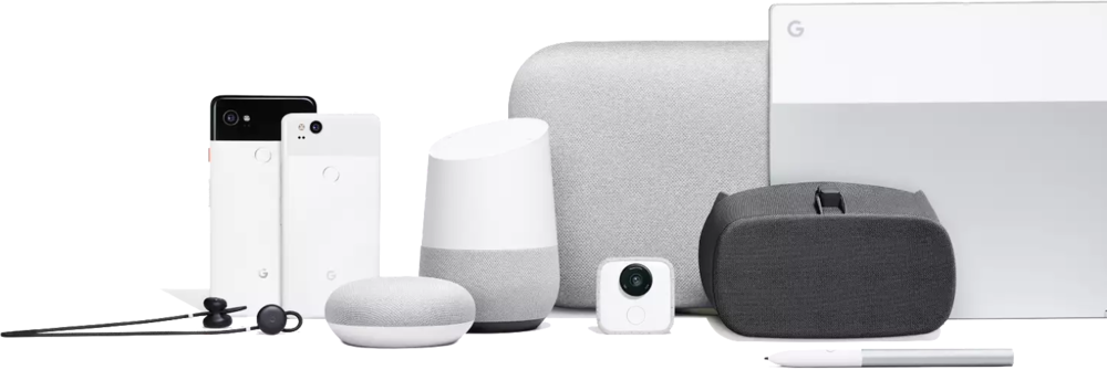 Google Pixel Buds, Pixel 2 XL, PIxel 2, Home Mini, Home, Home XL, Clips, Daydream View, Pixelbook (v.l.n.r)