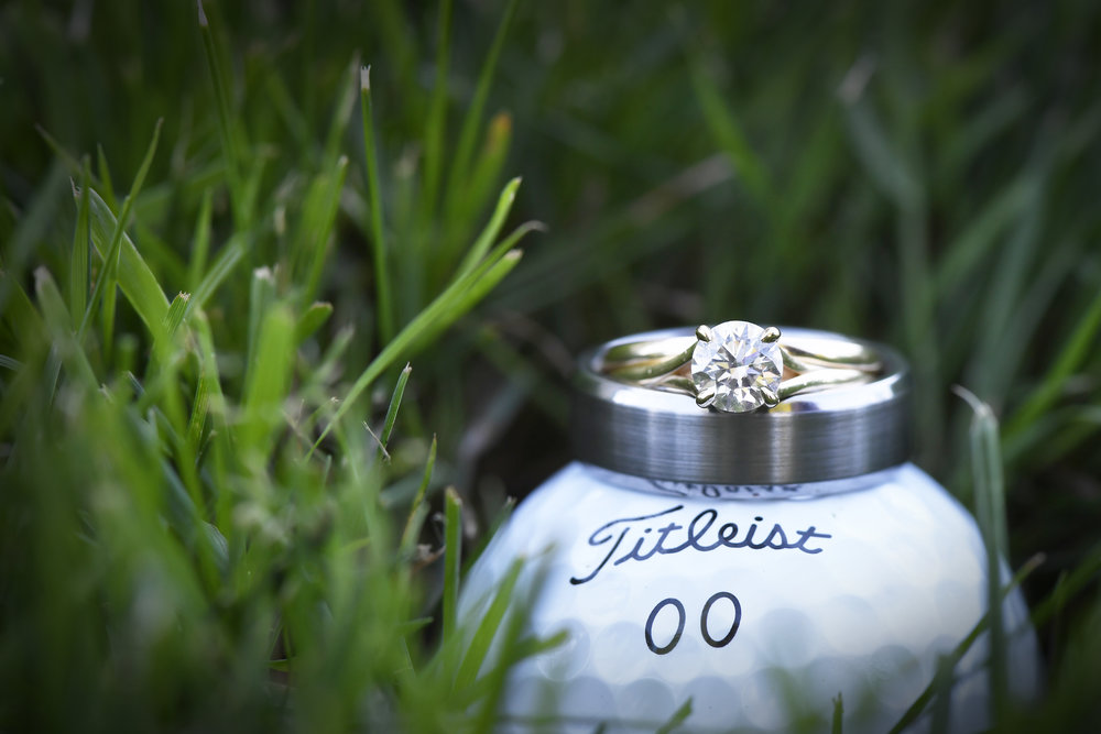 wedding on golf course - wedding rings
