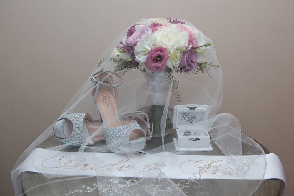 WICKHAM PARK WEDDING WEDDING VEIL COVERING BRIDE BOUQUET, WEDDING RINGS AND WEDDING SHOES