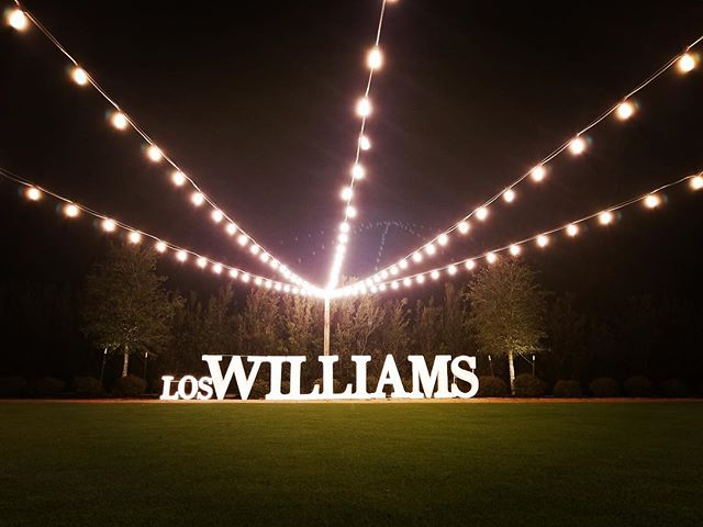 #loswilliams #marqueeletters #letterlights #thosebigletters #event rentals #lightupmyevent @thefarmhouseevents