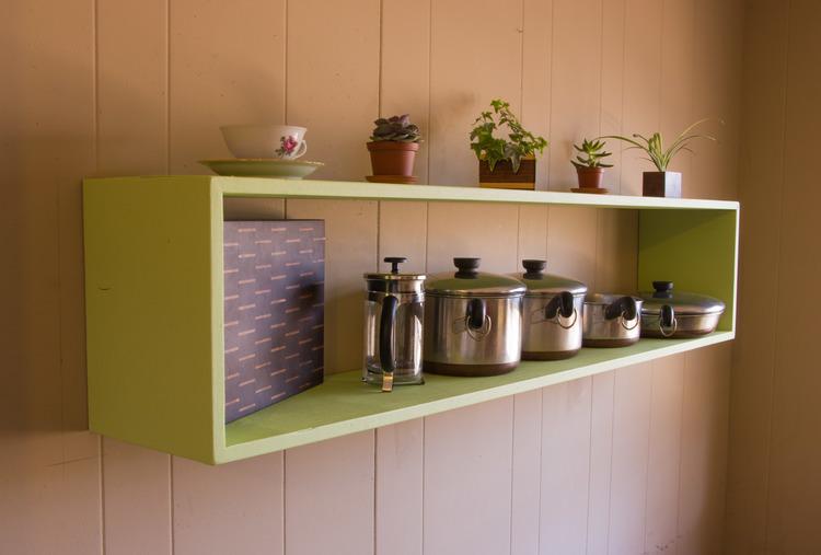 Floating Box Shelf floating open box shelf luminous green — board bros. design