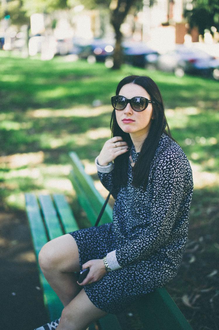 dress from Minimum; sunglasses from Fendi