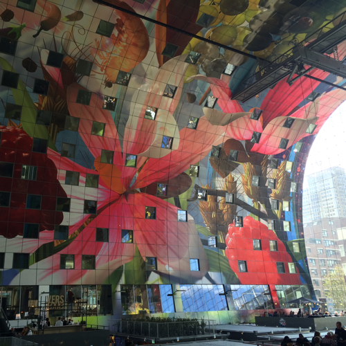 It was designed by architectural firm MVRDV and the inside of the building is   painted with artwork of Arno Coenen
